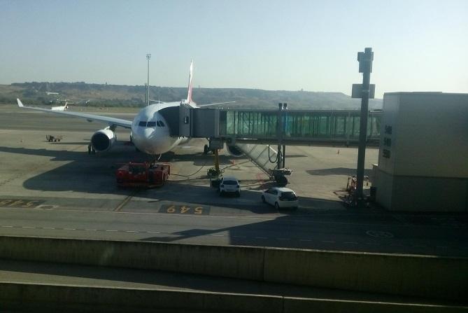 Vor dem Weiterflug in Madrid